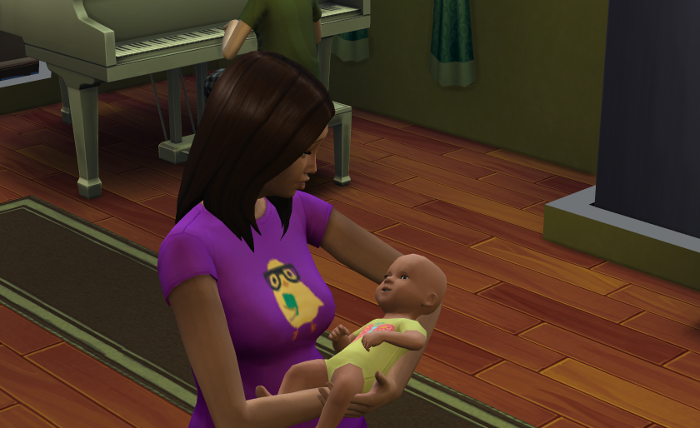 Coral holds baby Kim on the day of her birth.