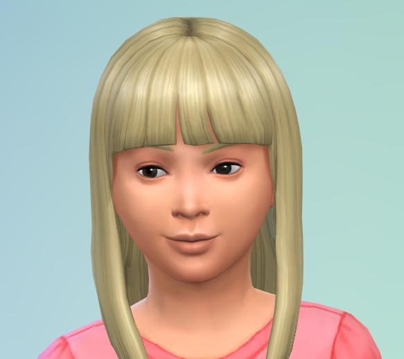 Long blond hair, simple bangs, and dark eyes.
