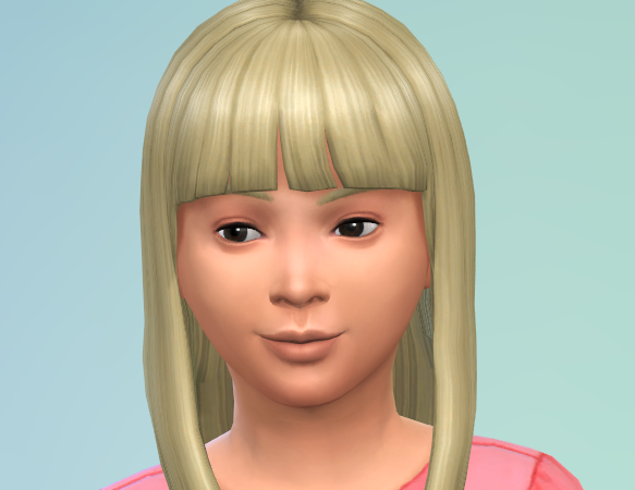 Long blond hair, simple bangs, and dark eyes.