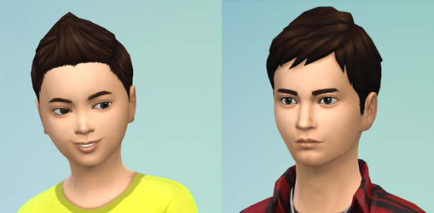 CAS of AJ, spiky brown hair and a serious teenager expression.