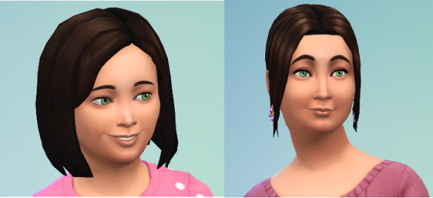 CAS of Natasha. She's got longish hair, loves pink, and has my Pigglewiggle green eyes.