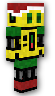 my yellow robot minecraft skin with christmas boots and a hat.