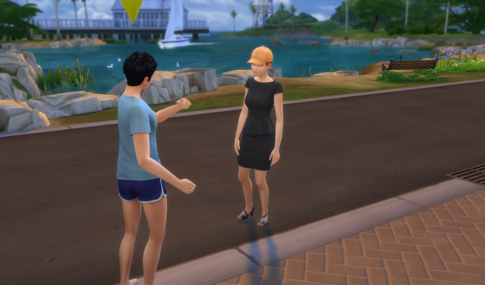 Sting (in his pajamas) chats up a wondering sim in black.