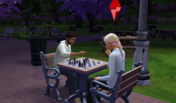 Toby and Dylan consulting over the chess board in the park.