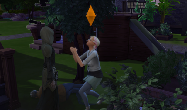 Dylan pleads with Grim in the Garden, Topher lies beside them.