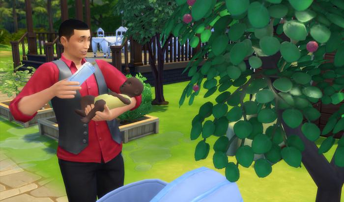 Mo feeds Nebula outside near the apple tree.
