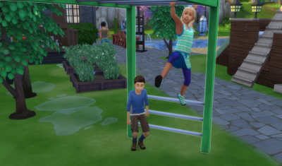 Cocoa and Galaxy play together on the monkey bars.