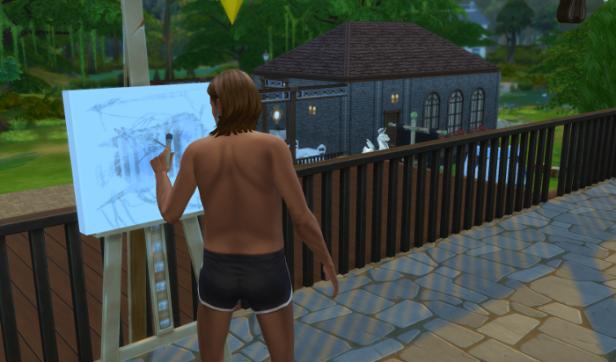 Toby paints on the balcony. A landscape perhaps?
