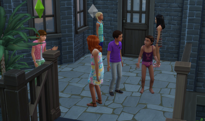 The girls talk to all the neighbor children on their front porch.