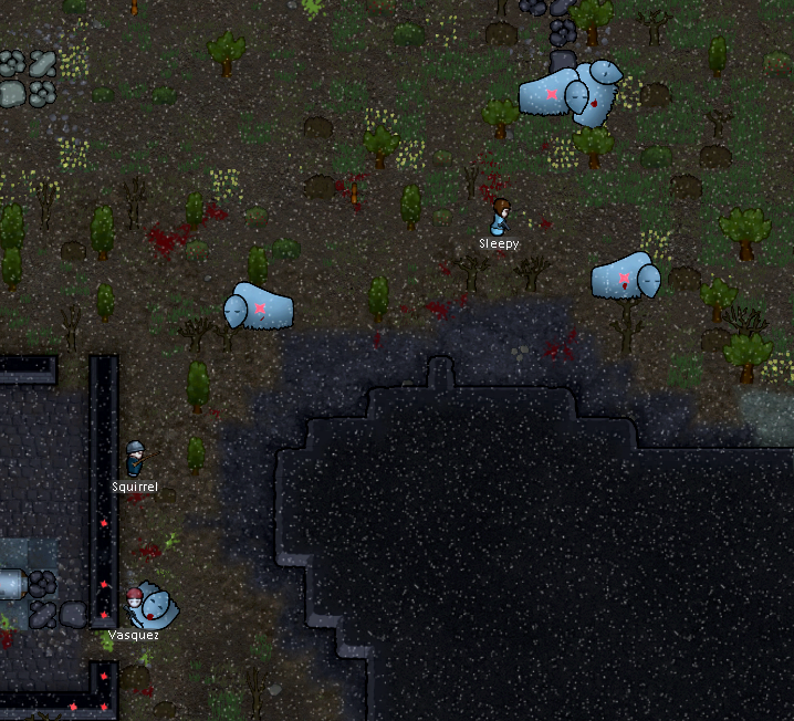 Squirrel, Vasquez, and Sleepy hunting muffalo (white buffalo) and carrying the corpses home.