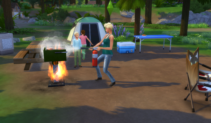 Galaxy puts out the grill fire while, Meteor watches, and Nova runs away.