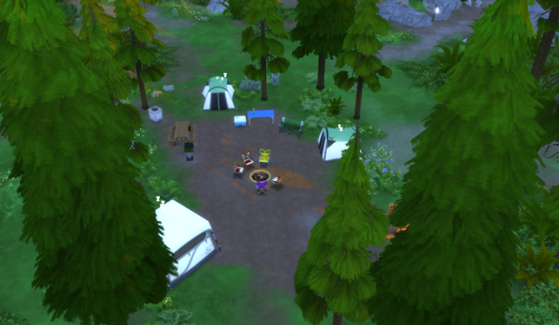 Three tents surround a firepit and small cooking area. Zzzzs come from each of the tents.