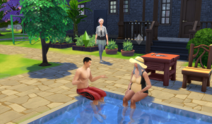 Carman and Mo sit around the pool after a hard day's gardening in Topher's garden, Dylan having just finished, joins them.