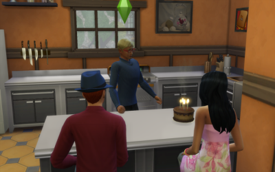 Meteor inhales to blow out his cake (that he made) on the island. Sonja and a guy wearing a hat watch.
