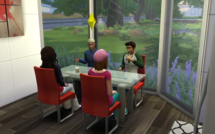 Meteor sits in at the kitchen table (glas and red) in front of huge floor to ceiling glass window overlooking greenery. Nebula and Nova sit across from him, Cocoa sits next to him.