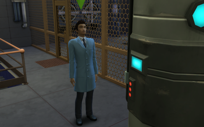 Cocoa stands in his lab coat in a large warehouse like room (with grate walls) staring at a mysterious machine.