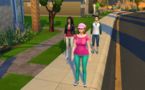 """Normal """"arrival"""" screenshot from the first moment you play the game. The three are lined up on the sidewalk."""