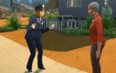 Nebula in her cop uniform outside the crime scene, questions a potential witness.