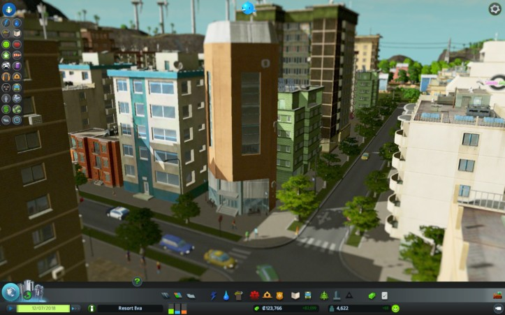 Overlooking the intersection near the commerical and residential districts. The Corner building is at an angle and is one of my favorite housing units.