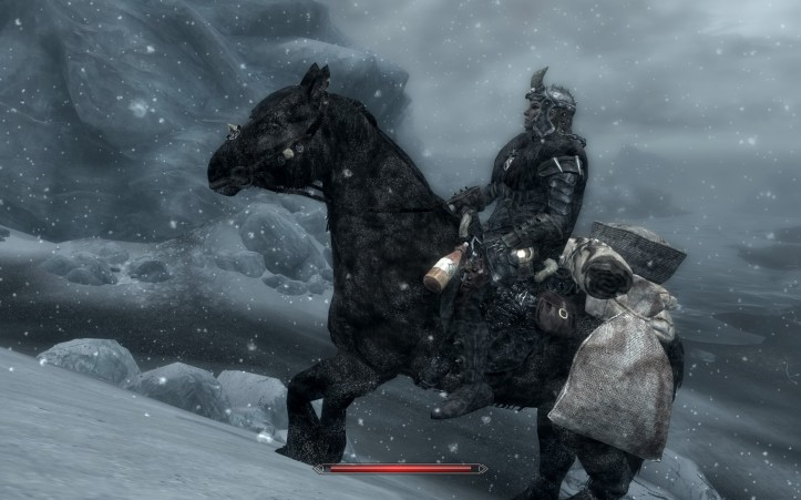 Leona and her horse make their way up a mountain during blizzard conditions. Both are covered in white flakes.