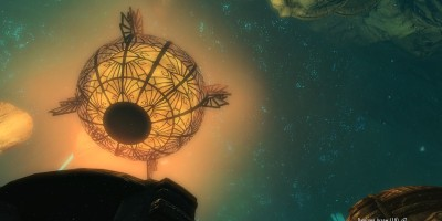 Close up of the glowing orb in the center of the city. Leona looks up at it as it hangs above her.