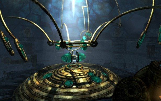 The metal arms descend and the emerald capsule opens to reveal a shining scroll.