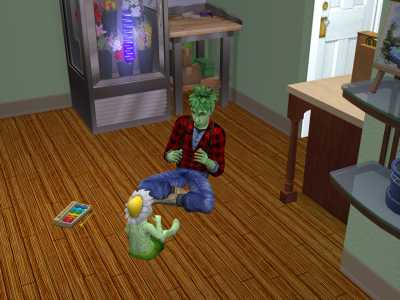 Weed, a plant sim in a flannel and jeans sings to a plant sim toddler.