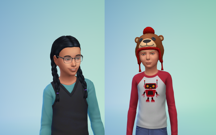 CAS images of Harley and Michel. Harley's black hair is in two braids and a black vest with a blue shirt (and glasses as all my heirs do). Michel wars a red and white robot long-sleeved shirt and a red bear hat which covers his blond hair.