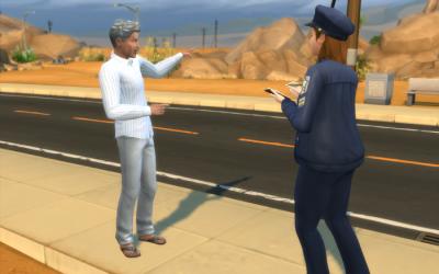 Nebula interviews a witness on the street.