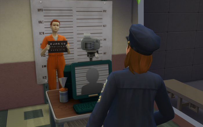 Nova mans the camera while a sim in an orange jumpsuit gives a wry smile.