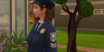 Close up of Nova in her cop uniform.