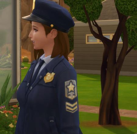 Close up of Nova in her cop uniform.