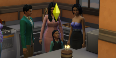 Harley is surrounded by adult sims as she goes to blow out the candles.