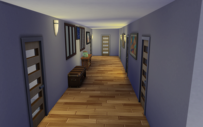 White walls (I'll be changing them slowly over time, honey wood floors, slotted doors line a simple hallway.