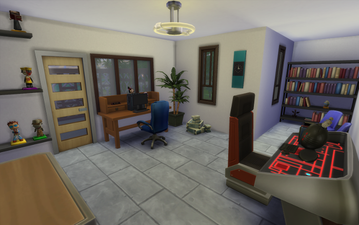 Large stone floor room with two desks with computers. The far wall has a book nook and two chairs, the near wall is filled with my sims. The door leads to another small deck.