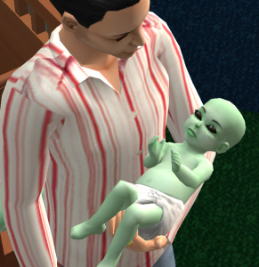 an old sims2 image of an alien green baby with huge dark eyes.