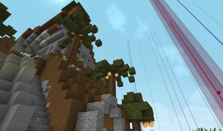 A Cliffside with the barest hint of a building poking through the trees.
