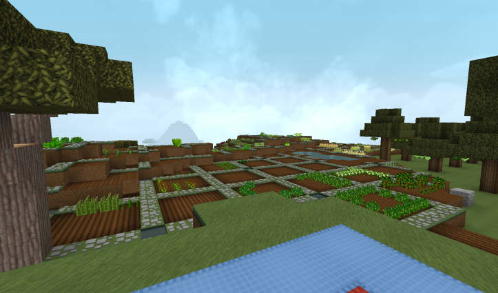Mostly empty, but tilled fields in four by four plots surrounded by stone paths.