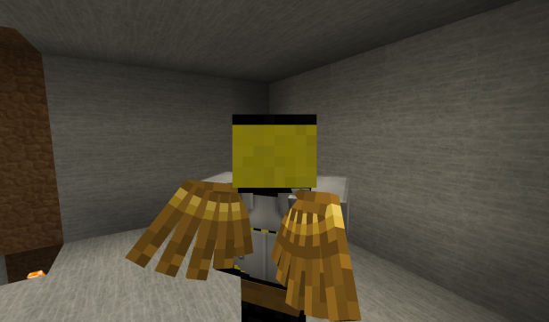Golden wings on the back of a player (me).