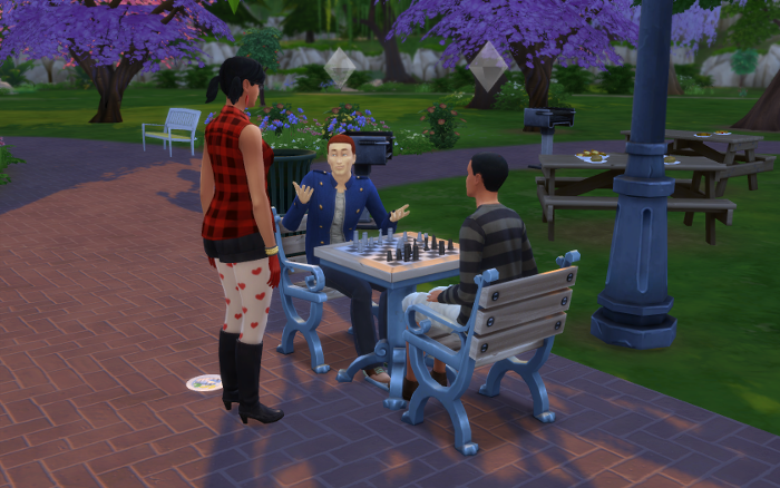 Harley interrogates a few boys playing chess in the park. They do not impress.