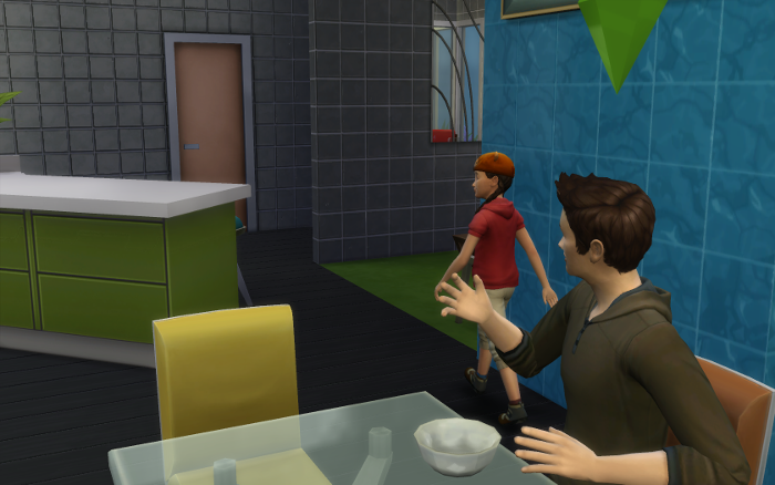 Cocoa waves goodbye to his daughter (now looking like a normal sim) as she heads off to school.