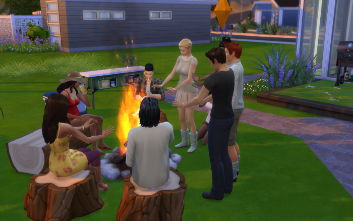 A small crowd surrounds the firepit outside. Nebula in a bathing suit drinks some juice while Cocoa warms his hands on the really high flames.