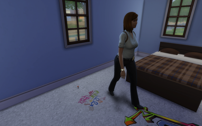 Nova leaves the vandalized room after taking evidence photos.