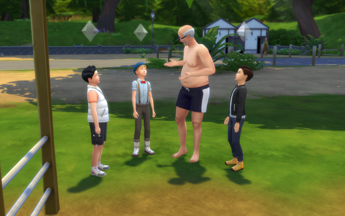 Evil old man surrounded by three young boys...that's not suspicious, right?