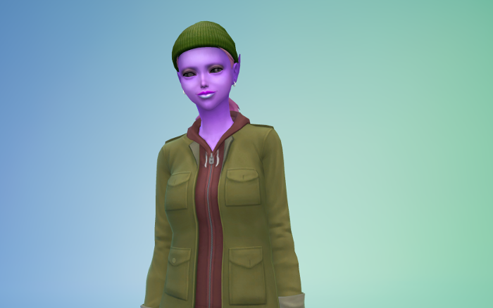 CAS of Mina. I had so much fun dressing her, she might not be the heir but she's got two everyday outfits. This one is her green cap from childhood, and then an olive jacket and hoodie. She has purple skin, and blue and pink lip gloss - she also has pink hair.