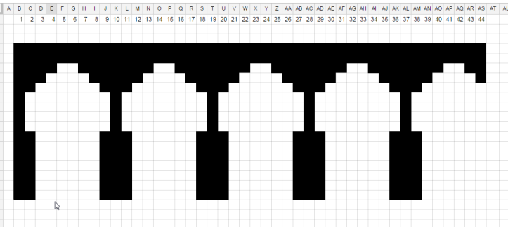 Spreadsheet with squares filled in to match the outline of the bridge.
