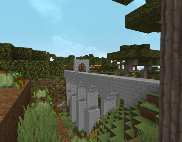 Minecraft version of the bridge, a bit square and made of cobblestone bricks, but it does have Roman arches.