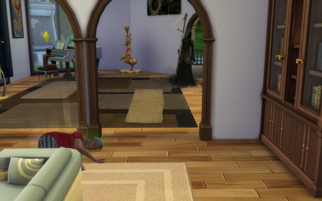 Deshawn lies on the living room floor, the grim, still in the music room approaches.