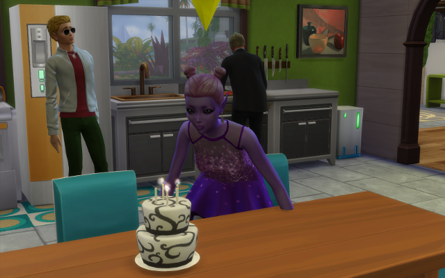 Mina blows out the candles on her white gourmet cake.