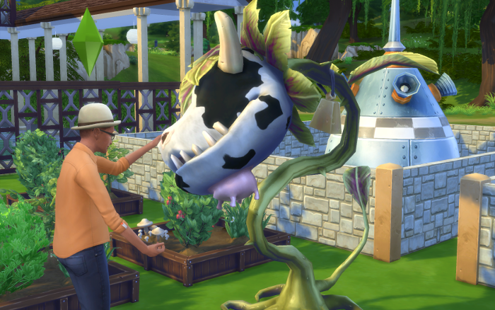 Bane pets his cowplant who seems quite docile at the moment.